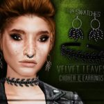 Blahberry Pancake's Velvet Leaves Choker & Earrings