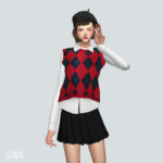 Checked Knit Vest With Shirt_ Checked vest and shirt – SIMS4 marigold