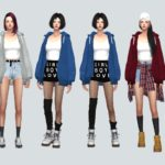 Hoodie With Crop Top_ Hoodie and Crop Top _ Women's Costumes – SIMS4 marigold