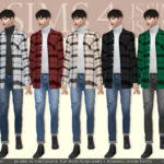 [JS SIMS 4] Turtleneck Top With Plaid Shirt + Washing Denim Pants @ JS SIMS :: 痞客邦 PIXNET ::