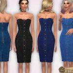 Harmonia's Strapless Denim Midi Dress