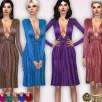 Harmonia's Deep-neckline Metallic Tulle Dress