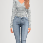 elliesimple – striped long sleeve top & denim jeans