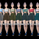 allbyglaza: TS4 NEW MESH DENIM DRESS 24 BY GLAZA