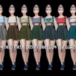 allbyglaza: TS4 NEW MESH DENIM DRESS 24 BY GLAZA