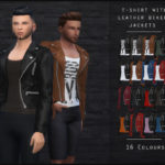 OranosTR's T-Shirt With Leather Biker Jacket