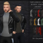 Turtleneck With Biker Leather Jacket – New Mesh -… – Oranos