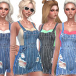 Pinkzombiecupcakes' Denim Striped Distressed Overalls