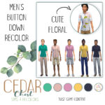 CC for Sims 4 – New Men's Short Sleeve Button Downs! Base Game…