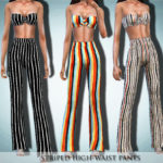 Black Lily's Striped High-Waist Pants