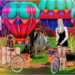 Camping Time two decorative balloons and pink bicycle