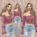 [JS SIMS 4] Show Off Shoulder Ruffled Blouse @ JS SIMS :: 痞客邦 ::